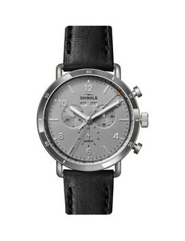 chronograph-stainless-steel-&-leather-strap-watch by shinola