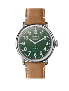 the-runwell-stainless-steel-&-leather-strap-watch by shinola