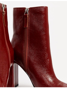 topshop-heeled-boots-with-square-toe-in-red by topshop