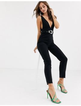 asos-design-denim-plunge-jumpsuit-with-western-belt by asos-design