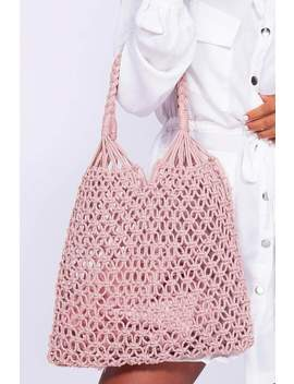 Blush Macrame Crochet Tote Bag by Hidden Fashion