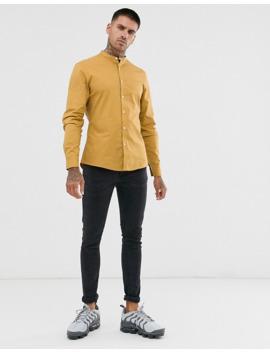 asos-design-stretch-slim-smart-shirt-in-mustard-with-grandad-collar by asos-design