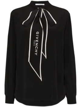 logo-print-pussy-bow-blouse by givenchy