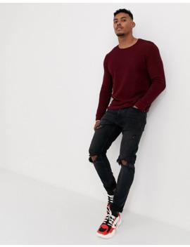bershka-waffle-sweater-in-burgundy by bershkas