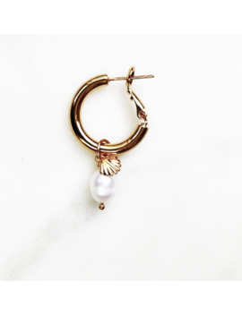 Hoop Mini Shell White  Pearl by By Nouck
