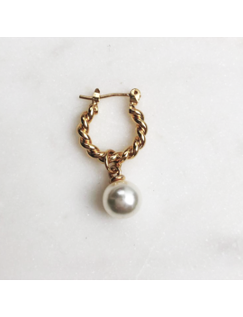 Twisted Hoop White Pearl by By Nouck