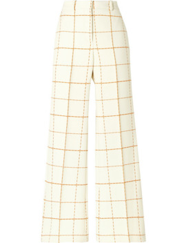 checked-wool-blend-twill-wide-leg-pants by victoria-beckham