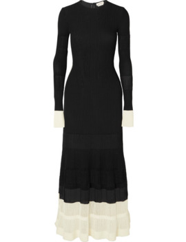 two-tone-paneled-ribbed-knit-maxi-dress by alexander-mcqueen