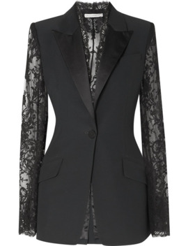 satin-trimmed-grain-de-poudre-and-lace-blazer by alexander-mcqueen