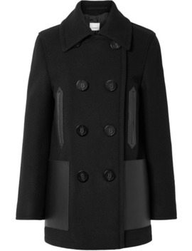 double-breasted-leather-trimmed-wool-blend-coat by burberry