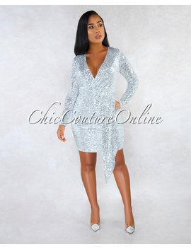 Palmeira Silver Sequins Drap Details Overlay Mini Dress by Chic Couture