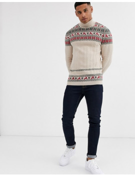 asos-design-fairisle-jumper-in-with-stag-design-in-oatmeal by asos-design