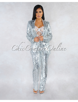 Tierra Silver Sequins Jacket Two Piece Suit Set by Chic Couture