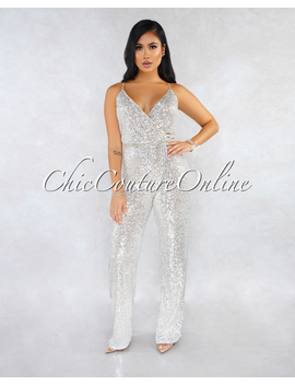 Jaydan Nude Silver Sequins Faux Wrap Jumpsuit by Chic Couture