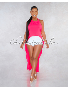 Terrie Neon Pink Dramatic High Low Shift Open Back Top by Chic Couture