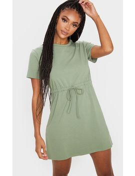 olive-drawstring-tie-waist-t-shirt-dress by prettylittlething