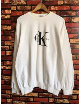 vintage-90s-calvin-klein-white-sweatshirt-logo-print-pullover-jumper-streetwear-hiphop-style-size-large by etsy