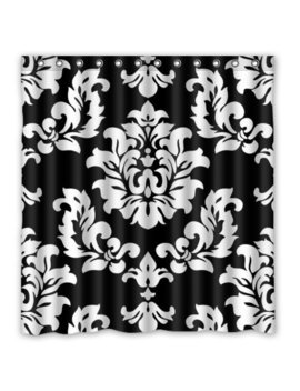 hellodecor-black-and-white-damask-french-floral-swirls-shower-curtain-polyester-fabric-bathroom-decorative-curtain-size-66x72-inches by hellodecor