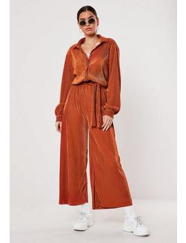 rust-co-ord-plisse-wide-leg-trousers by missguided