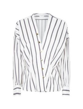 stripe-press-stud-shirt-blouse by sandro