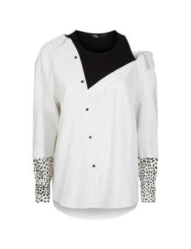 stripe-animal-print-shirt by maje
