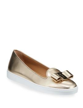 novello-metallic-leather-bow-sneakers by salvatore-ferragamo