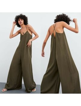zara-flowing-jumpsuit-khaki-green-size-s by zara