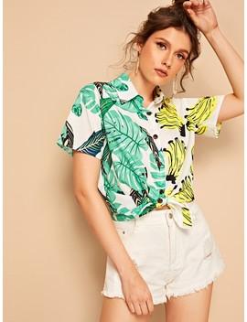 banana-&-tropical-print-blouse by sheinside