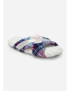 Plaid Criss Cross Slippers by Justice