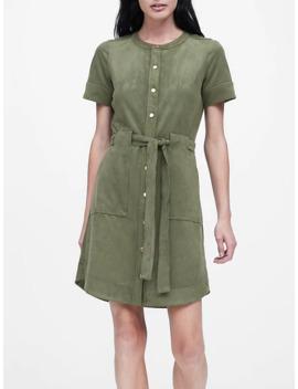 petite-vegan-suede-shirt-dress by banana-repbulic
