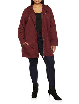 Plus Size Drawstring Waist Hooded Anorak Jacket by Rainbow