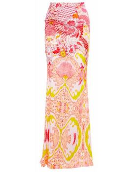 ring-embellished-printed-stretch-silk-satin-maxi-skirt by roberto-cavalli