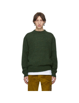 green-mohair-crewneck-sweater by schnaydermans