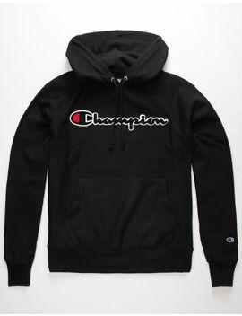 champion-reverse-weave-chenille-script-black-mens-hoodie by champion