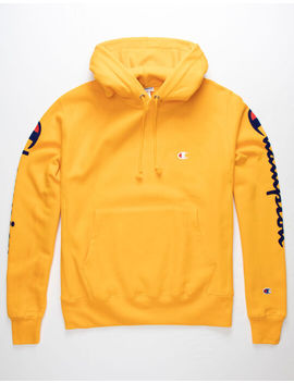 champion-flock-sleeve-gold-mens-hoodie by champion