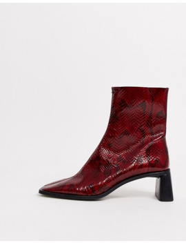 topshop-heeled-boots-with-square-toe-in-red-snake by topshop