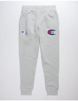 champion-century-collection-c100-chenille-logo-oxford-gray-mens-jogger-pants by champion
