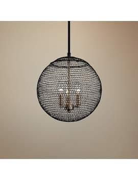 "Tsuki 13 3/4"" Wide Kokoro Bronze 3 Light Pendant by Lamps Plus"