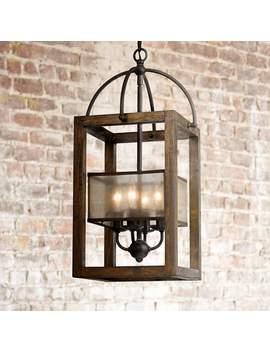 "Harper Wood 12"" Wide Iron Pendant Chandelier by Lamps Plus"
