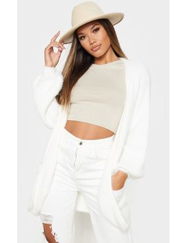 ivory-fluffy-knit-oversized-cardigan by prettylittlething
