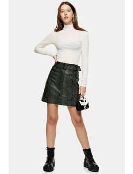 dark-green-belted-snake-mini-skirt by topshop