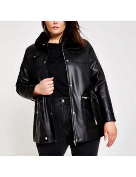 plus-black-faux-leather-belted-jacket by river-island