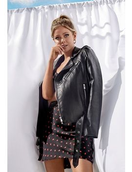 Belted Moto Jacket by Justfab
