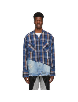 蓝色-50_50-plaid_denim-studio-衬衫 by greg-lauren