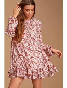 these-dreams-red-floral-print-pleated-long-sleeve-mini-dress by free-people