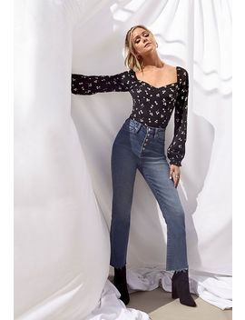 High Rise Button Front Crop Jeans by Justfab