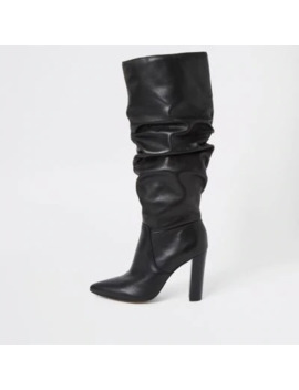 black-leather-slouch-heel-boot by river-island