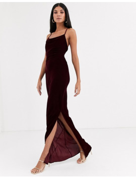 asos-design-tall-cami-maxi-slip-dress-in-velvet-with-lace-up-back by asos-design