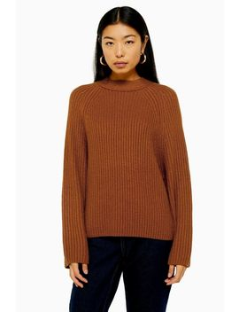 brown-knitted-popper-side-jumper by topshop