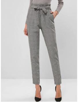 Hot Salezaful Plaid High Waisted Pocket Pencil Paperbag Pants   Multi A S by Zaful